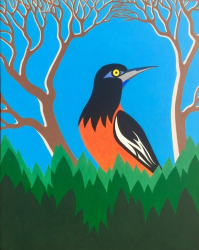 Bonaire schilderij: Trupial (3), de oranje troepiaal