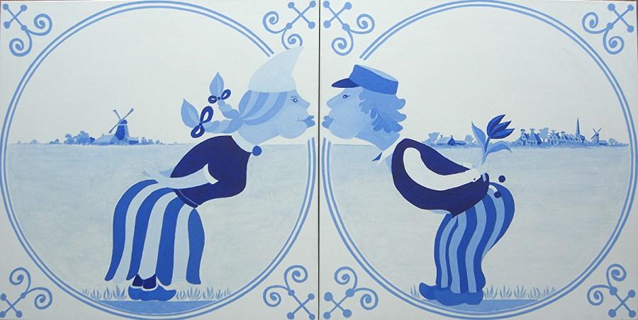 NL schilderij: Delft blue