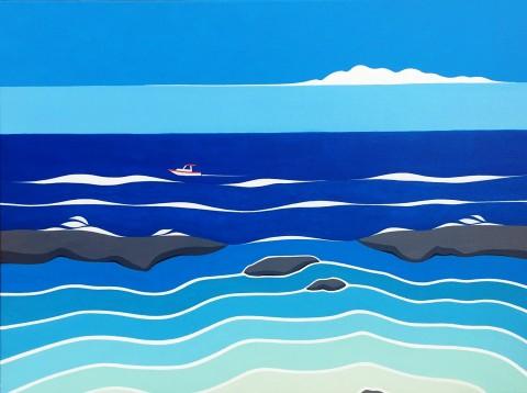 Bonaire schilderij: Rhapsody in blue