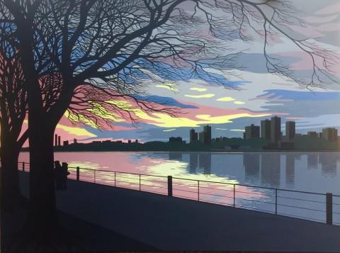 New York schilderij: De Hudson bij Riverside Park
