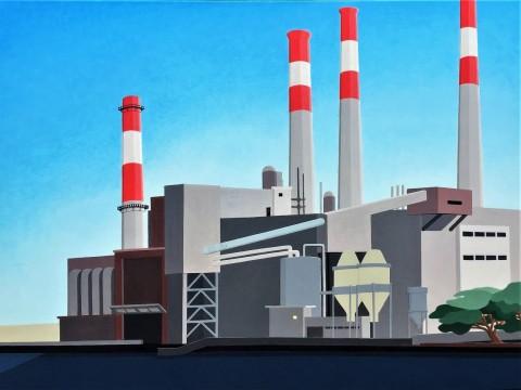 New York schilderij: Centrale aan East River