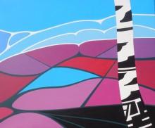 Drie keer hei (2) schilderij 'Dwingelderveld 2', acryl op doek, 50x60 cm
