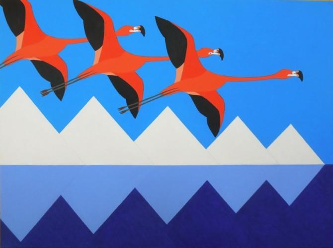 Bonaire schilderij Zout en Flamingo's