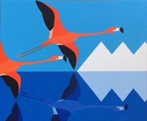 Bonaire schilderij: Zout en Flamingo's (2)