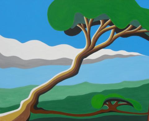 Bonaire schilderij: Waaiboom (1)