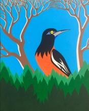 Bonaire schilderij: Trupial (3) de oranje troepiaal